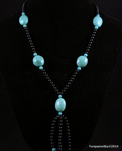 Natural turquoise necklace 30  inches