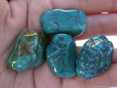 A set of 4 natural green turquoise 50.1 grams