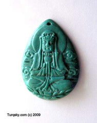 Dual-side hand carved natural turquoise pendant 4 - 5 grams