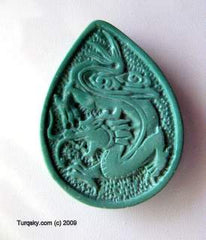 Dual-side hand carved natural turquoise pendant 7 - 8 grams