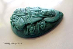 Dual-side hand carved natural turquoise pendant 8 - 9 grams