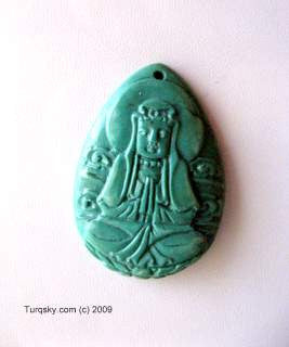 Dual-side hand carved natural turquoise pendant 5 - 6 grams