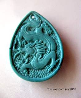 Dual-side hand carved natural turquoise pendant 6 - 7 grams