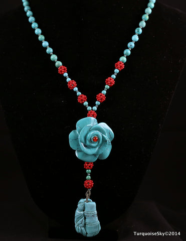 Natural turquoise necklace 18  inches