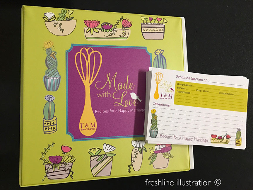 bridal shower recipe cards and book