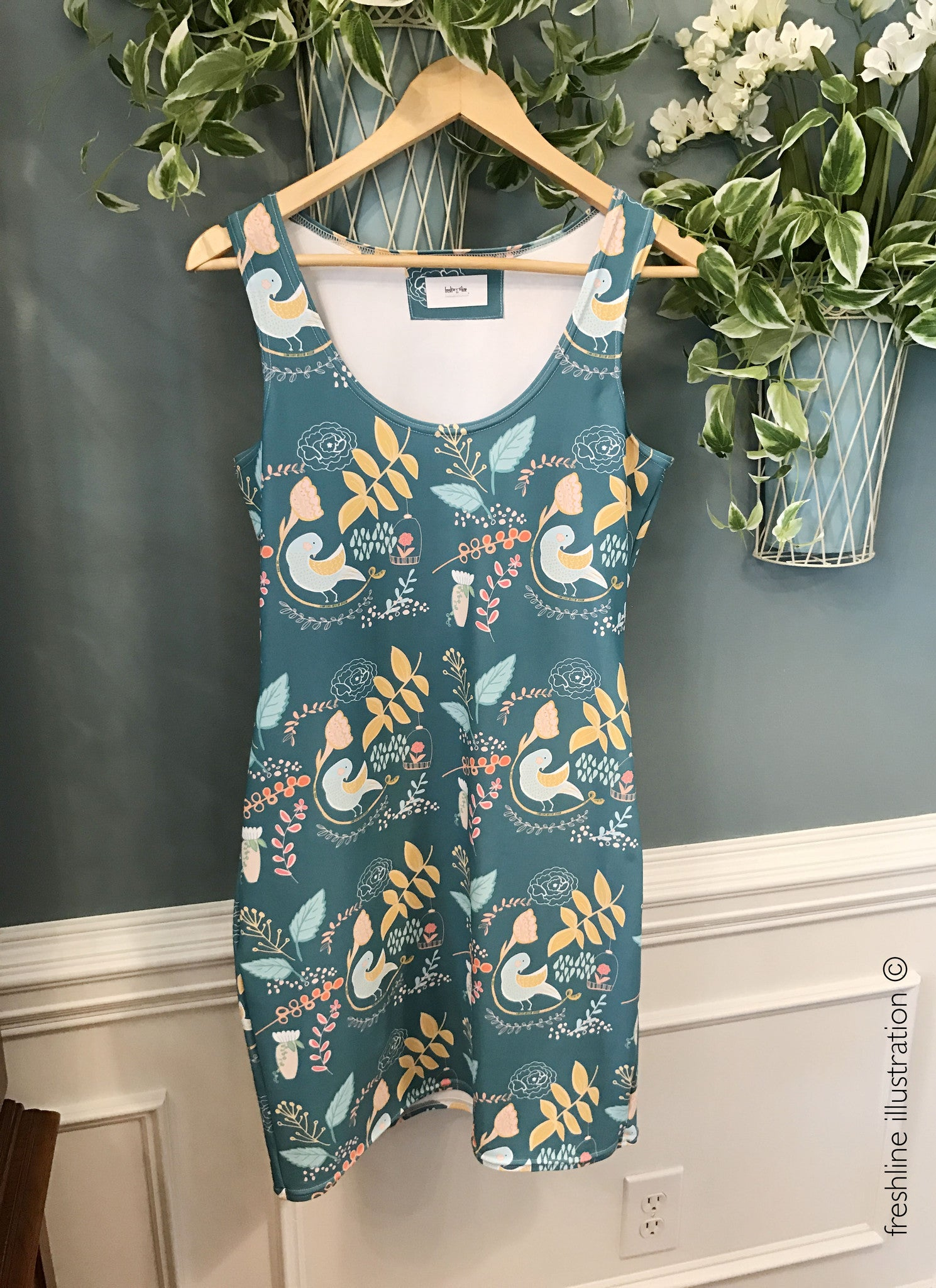 Birds and Ferns Dress, Bird Dress - Freshline Illustration