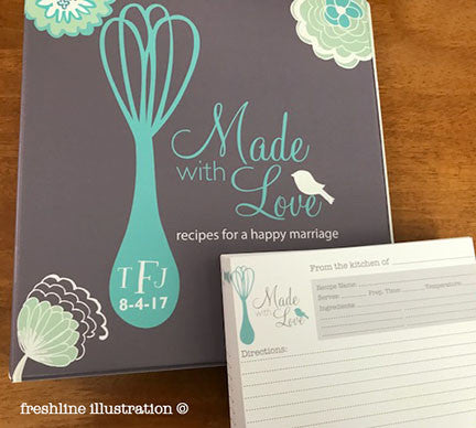 bridal shower recipe binder recipe card set