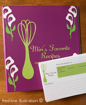 Bridal Shower Recipe Binder - Freshline Illustration