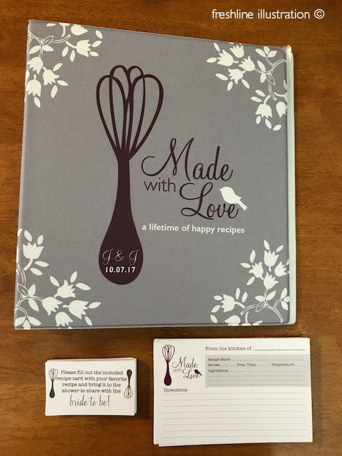 bridal shower recipe binder kit, recipe cards, recipe binder, cards - Freshline Illustration