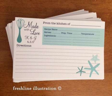 recipe cards, personalized recipe cards, bridal shower recipe