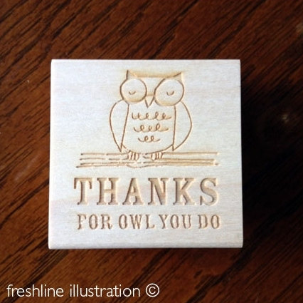 thank you stamp rubber stamp owl stamp