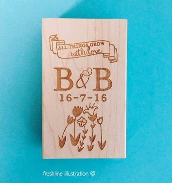 wedding favor stamp, wedding seed favor stamp