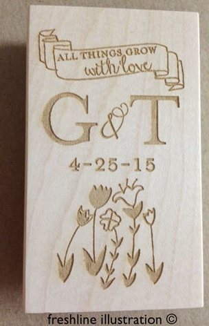 wedding favor stamp, wedding seed favor stamp Thumbnail