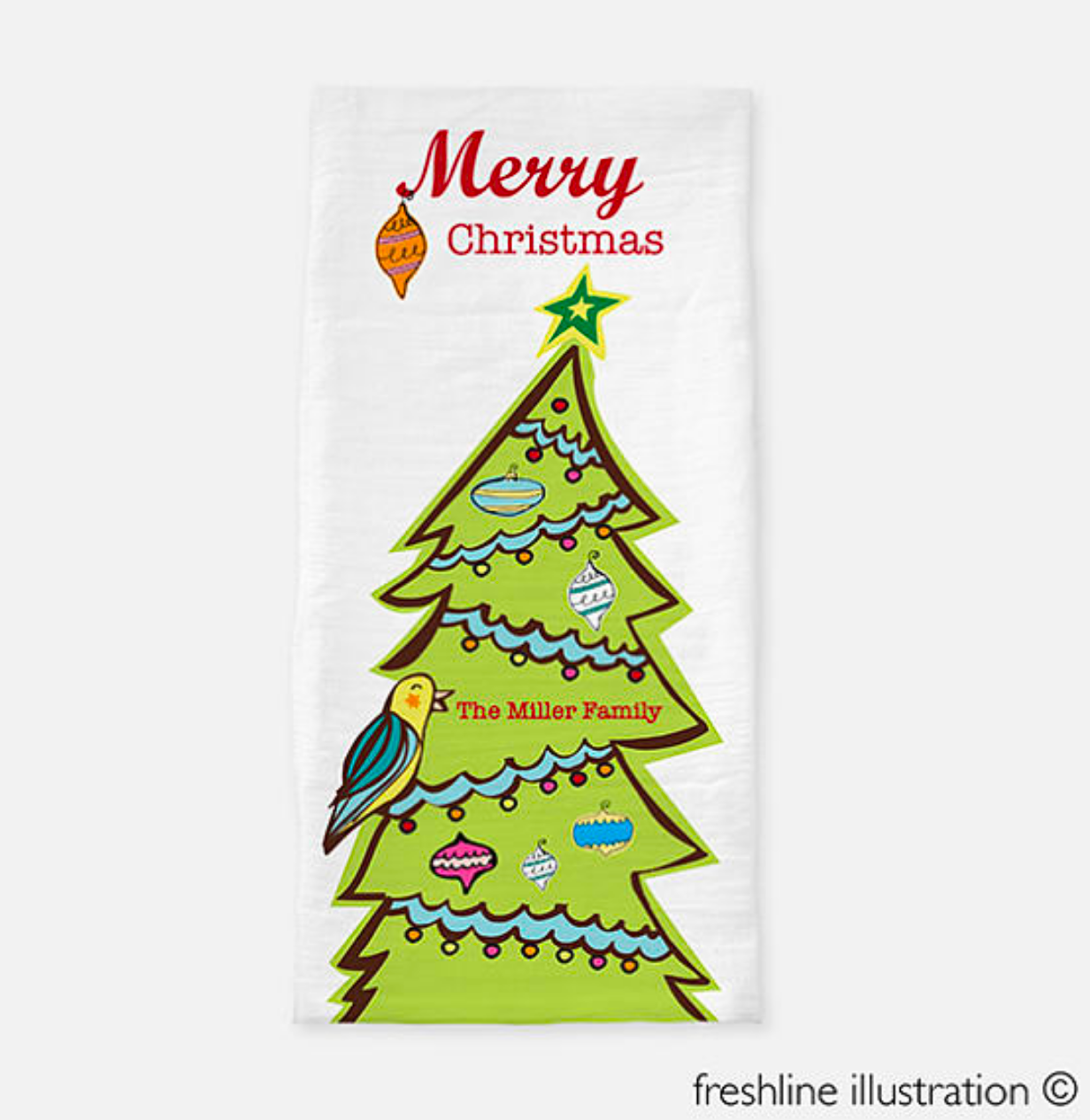 christmas tea towel personalized