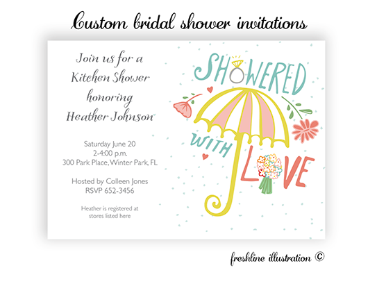 bridal shower invitations - Freshline Illustration