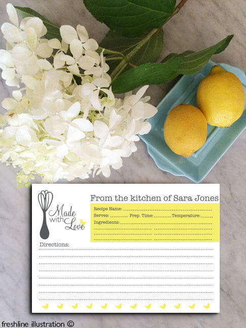 recipe cards, personalized recipe cards, bridal shower recipe cards