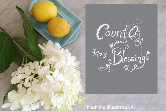 count your blessings sign, handlettered art, hand lettering art print - Freshline Illustration