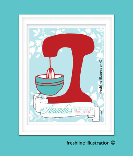Kitchen Mixer Wall Art, Poster, Kitchen, Mixer, Personalized, Monogrammed, Art Print - Freshline Illustration