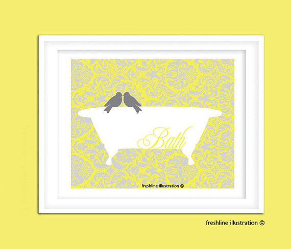 bathroom art bathroom poster custom artwork - Freshline Illustration
