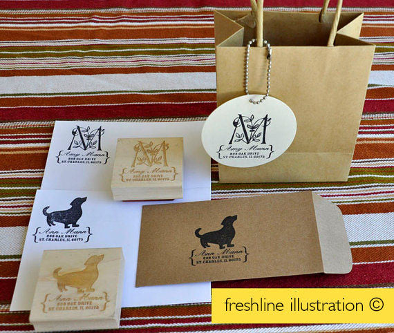 Custom Rubber Stamp - Custom Pet or Dog Address Stamp - Featuring your Pet Thumbnail