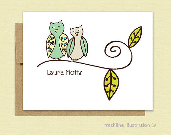 Owls, Stationery Set - Freshline Illustration