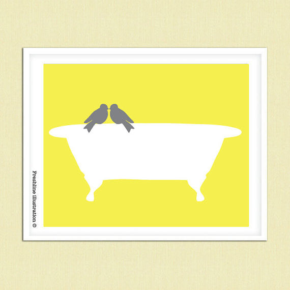 Love Birds Bathtub Art Print Thumbnail