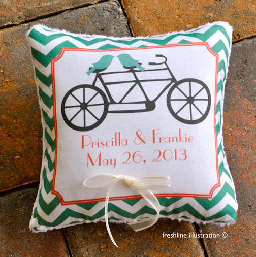 Ring Bearer Pillow - Love Bird Pillow - Tandem Bike - Bicycle Pillow - Love Birds Chevron -Customize to your Wedding - Freshline Illustration