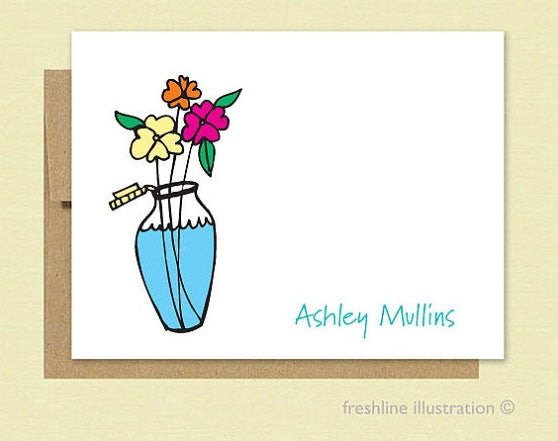Flower Vase Stationery Set - Freshline Illustration