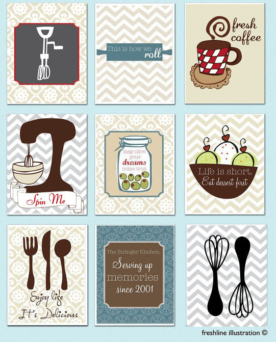 Kitchen Wall Art - Set of 9 - Mixer, Monogram, Salt and Pepper, Utensils - Funny Kitchen Quote Thumbnail