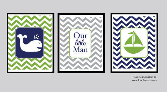 Nursery Wall Decor - Babies Room - Children's Room - Boy - Nautical - Freshline Illustration
