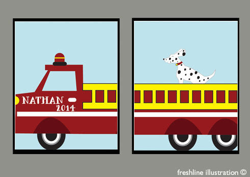 Fireman, Firetruck and dalmation kids room signs - personalized boys room art - Set of TWO 8x10 art prints - Freshline Illustration