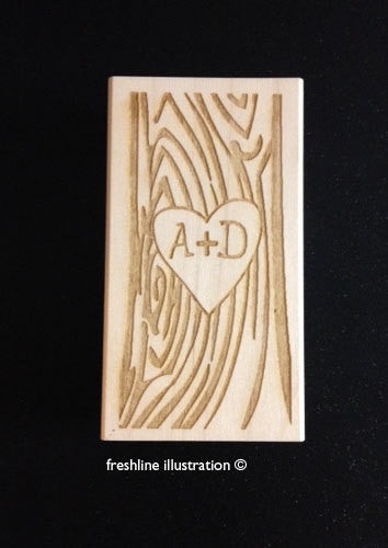 Carved Heart with Your Initials - Save the Date - Custom Rubber Stamp - Wedding Place Card Table Number Stamp