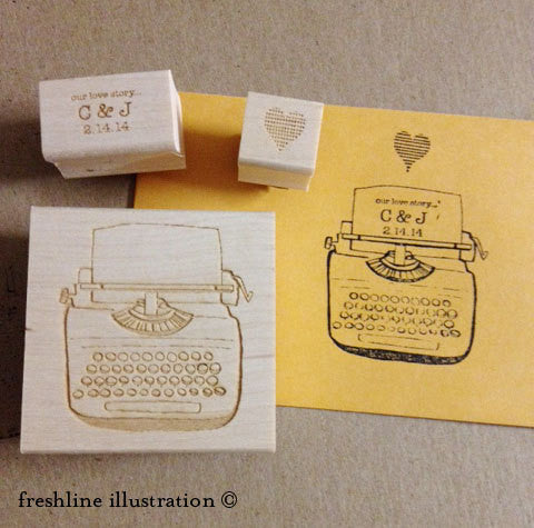 Wedding Stamp Set, Typewriter - Freshline Illustration