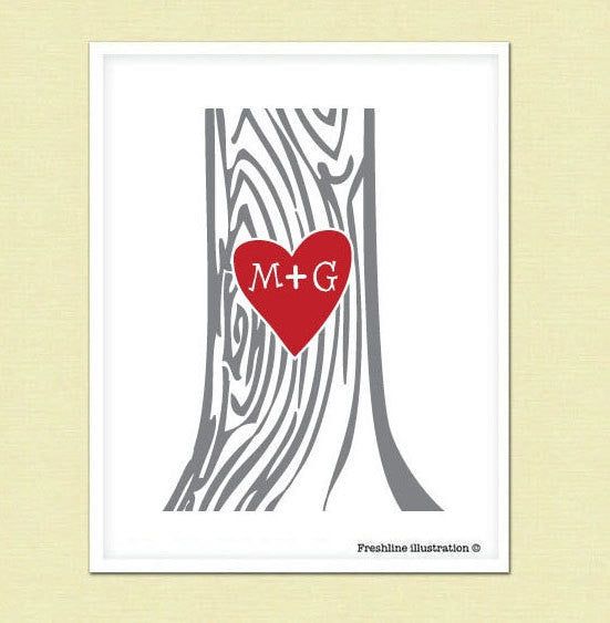Carved Heart with Your initials, Monogram, Wedding Decor, Wedding, Tree - Freshline Illustration