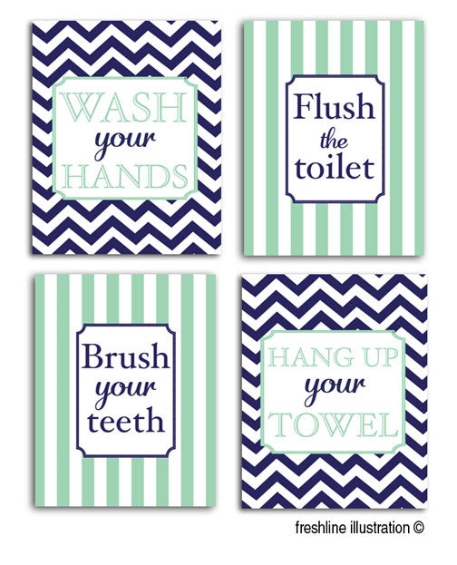 kids bathroom prints, personalized art, navy and mint, any color scheme - Freshline Illustration