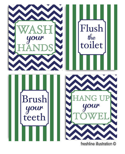 SALE - kids bathroom prints, personalized art, navy and green, any color scheme