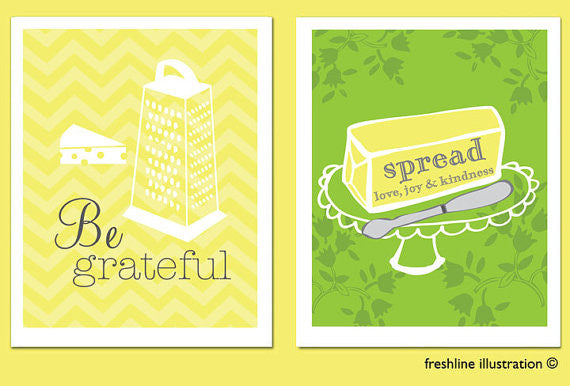 Be Grateful, Spread Love, Set of Two 8x10s, Art Print Set Thumbnail
