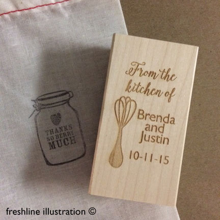 Wedding Favor Stamp, Kitchen Monogram Stamp, Wedding Rubber Stamp, Custom Stamp - Freshline Illustration
