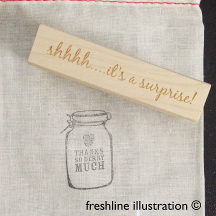 Invitation Stamp, Shhh it's a surprise, Rubber Stamp, Wedding Thumbnail