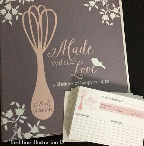 bridal shower recipe cards, bridal shower recipe book, recipe binder, custom recipe, bridal shower recipes Thumbnail