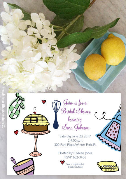 Bridal Shower Invitation, Bridal Shower Printable, Kitchen Shower