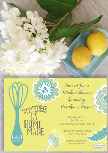 Bridal Shower Invitation, printable bridal shower invitation - Freshline Illustration