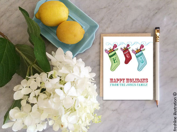 christmas cards boxed set christmas card set personalized christmas cards - Freshline Illustration