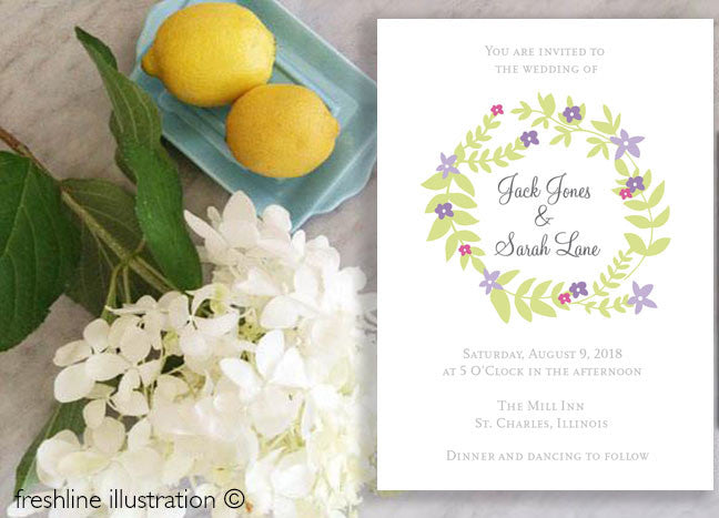 wedding invitations ideas, wedding invitations, custom wedding, floral wreath