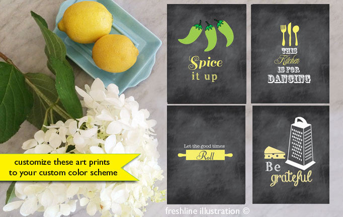 kitchen art print set funny kitchen prints - Freshline Illustration