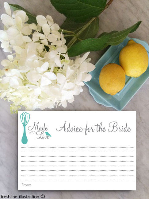 advice for the bride cards, kitchen bridal shower theme