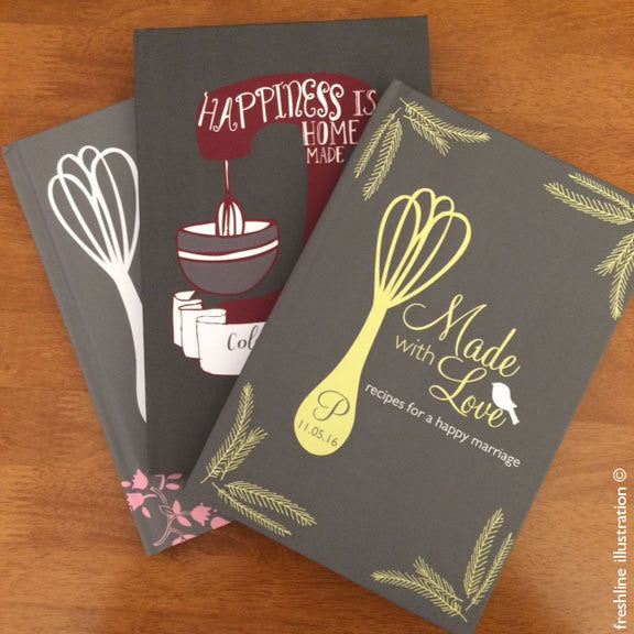 recipe book bridal shower gift recipe journal - Freshline Illustration