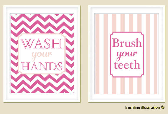 kids bathroom wall art, brush your teeth, wash your hands, set of two art prints