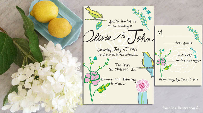 custom wedding invitation wedding invite set wedding invitation suite hand lettered hand lettered envelopes - Freshline Illustration