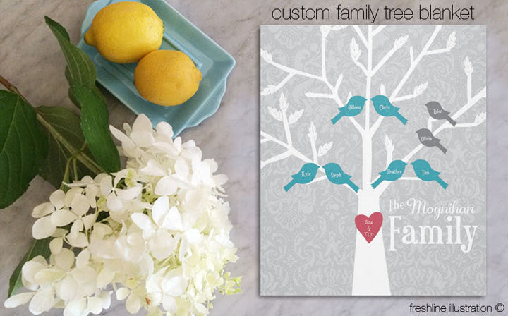 family tree blanket blanket personalized christmas gift idea for grandma for mom gift - Freshline Illustration